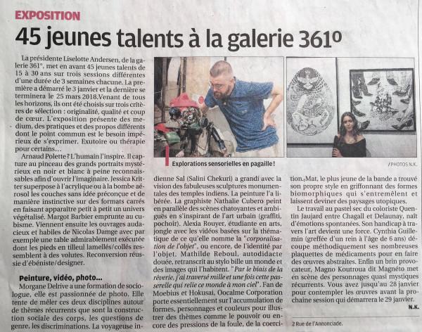"""Article du journal """"La Provence"""" sur nos expositions """"Jeunes talents"""" 2018"""