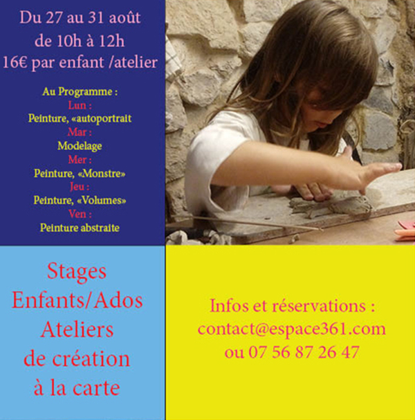 Flyer stages enfants août